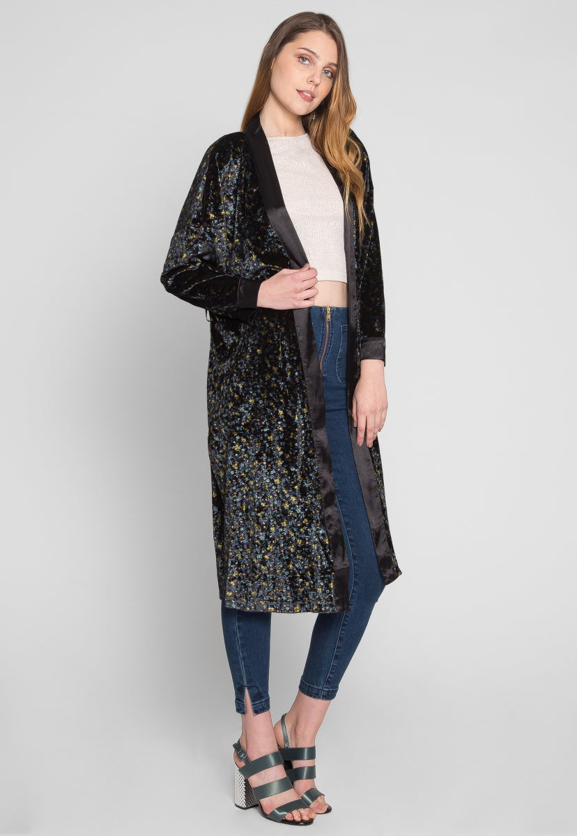 Breakfast in Bed Velvet Floral Robe - Jackets & Coats - Wetseal