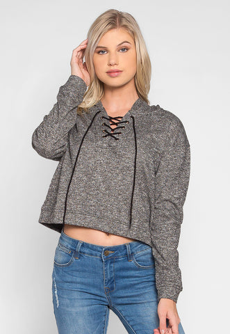 Helen Lace Up Hoodie in Charcoal