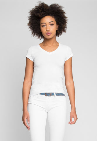 Venus V-Neck Tee in White