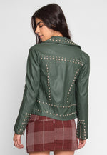 Gia Studded Leather Jacket in Olive