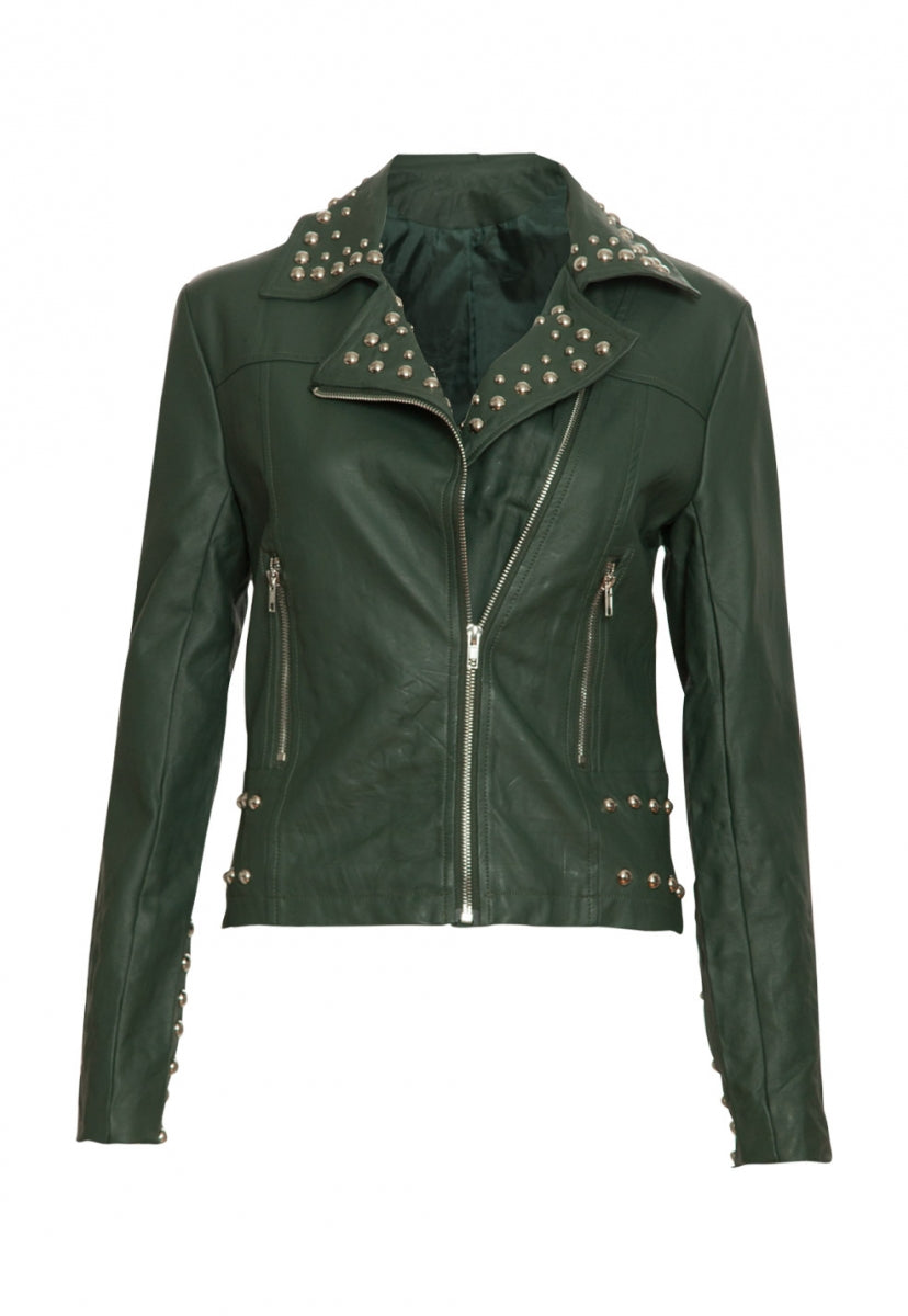 Gia Studded Leather Jacket in Olive - Jackets & Coats - Wetseal