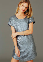 Party Girl Sequined Dress in Silver