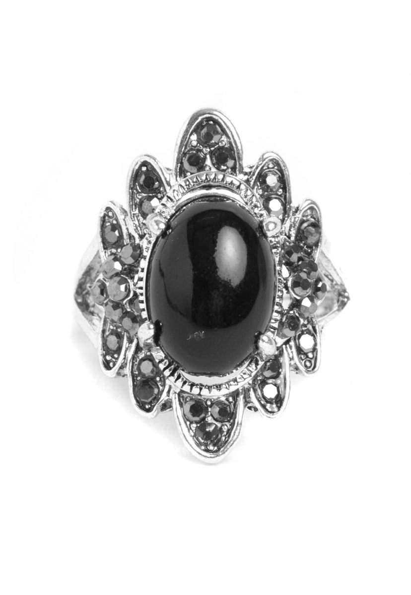 Queen Rhinestone Ring in Black - Jewelry - Wetseal