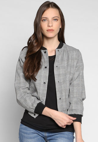 Keep It Secret Plaid Bomber Jacket