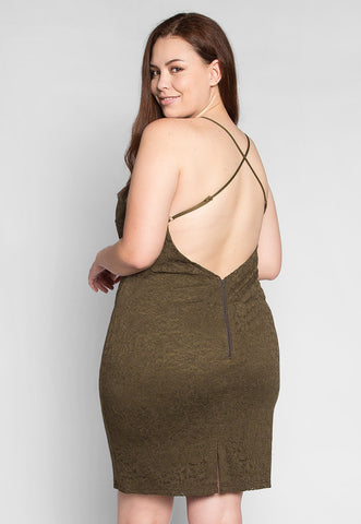 Plus Size Be The One Bodycon Dress in Olive