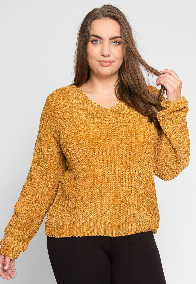 Plus Size V Neck Chenille Sweater In Mustard Wet Seal