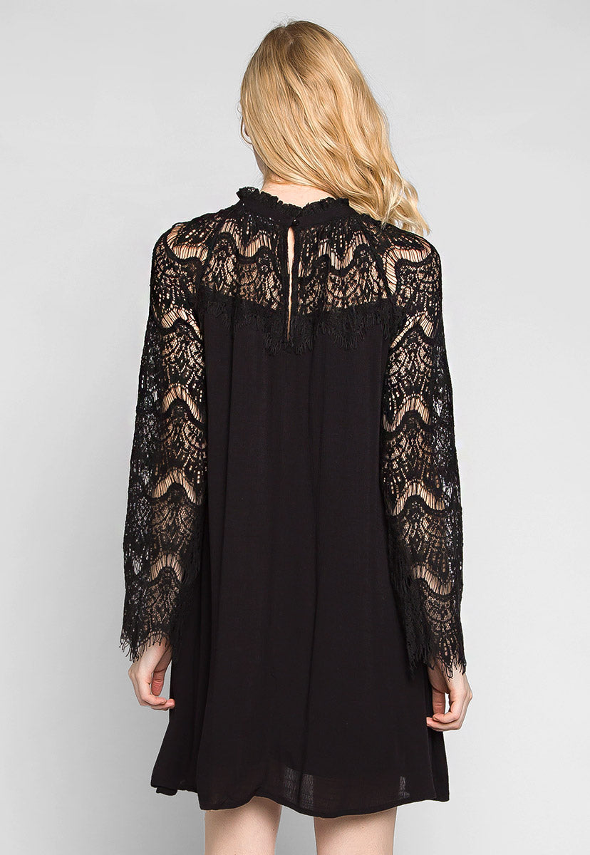 Burning For Love Lace Yoke Dress in Black - Dresses - Wetseal