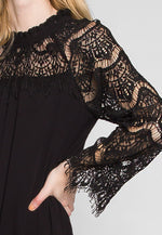 Burning For Love Lace Yoke Dress in Black
