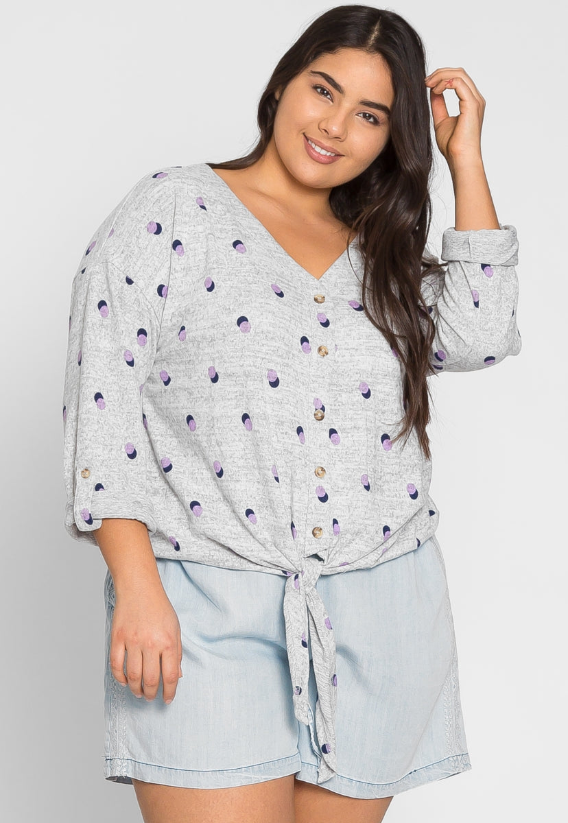 Plus Size Baxter Polka Dot Cardigan in Gray - Plus Outerwear - Wetseal