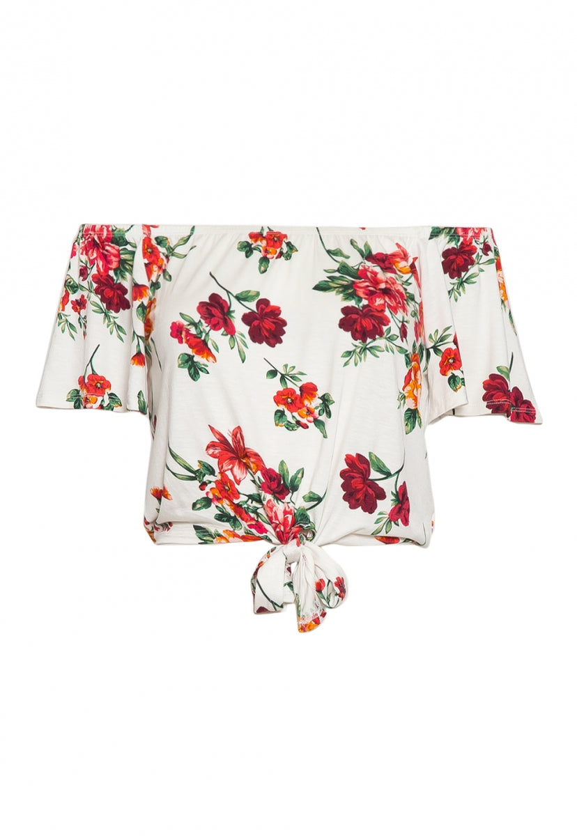 Moira Floral Off Shoulder Knit Top - Shirts & Blouses - Wetseal