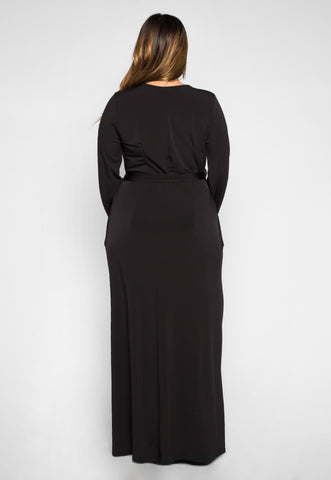 Plus Size Lighting Up Wrapped Maxi Dress in Black