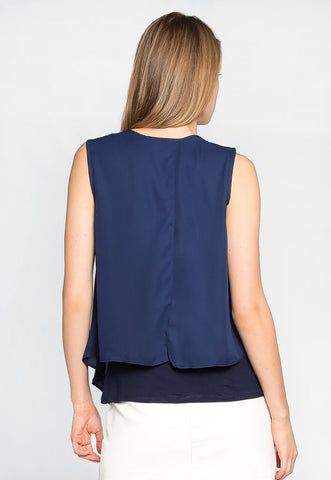 Stay True Layered Loose Fit Blouse in Navy