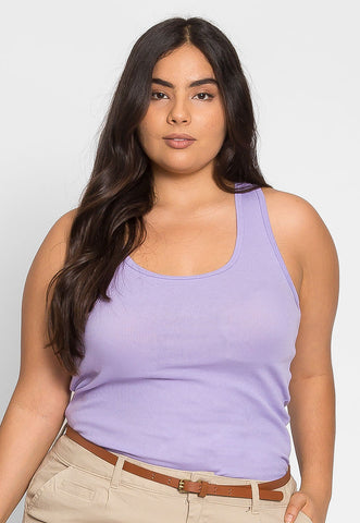 Plus Size Cali Basic Tank Top in Lavender