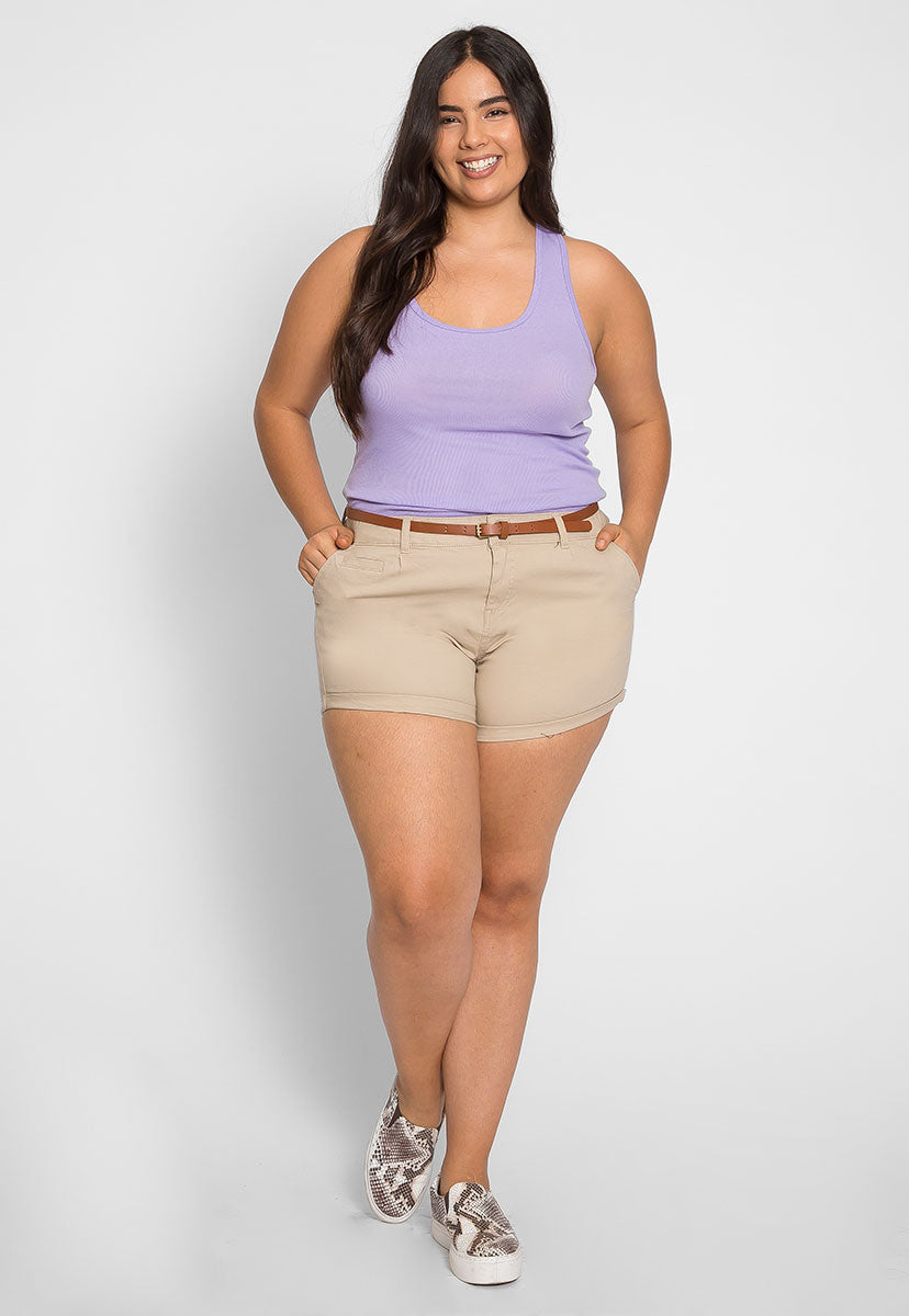 Plus Size Cali Basic Tank Top in Lavender - Plus Tops - Wetseal
