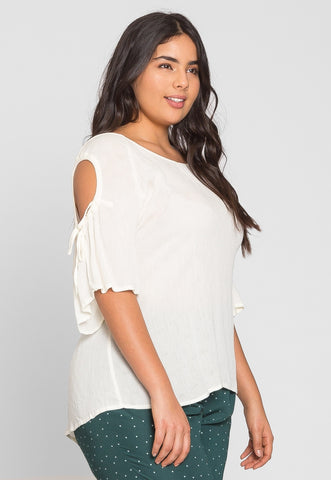 Plus Size Springs Blouse in White
