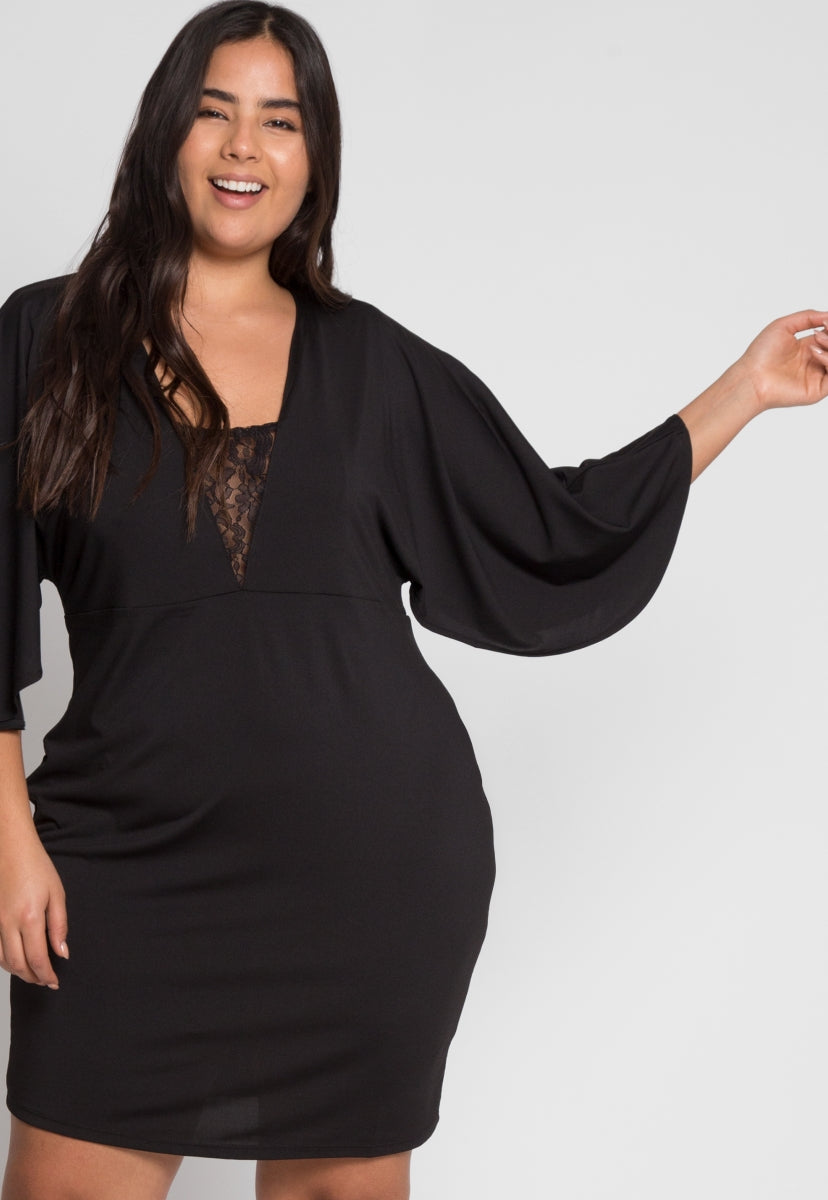 Plus Size Flare Sleeve Party Dress - Plus Dresses - Wetseal