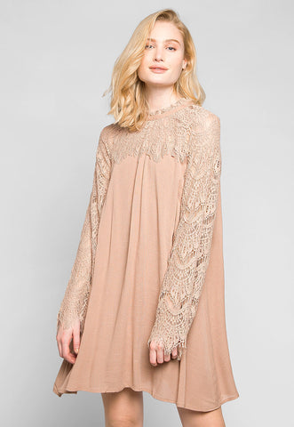 Burning For Love Lace Yoke Dress in Blush