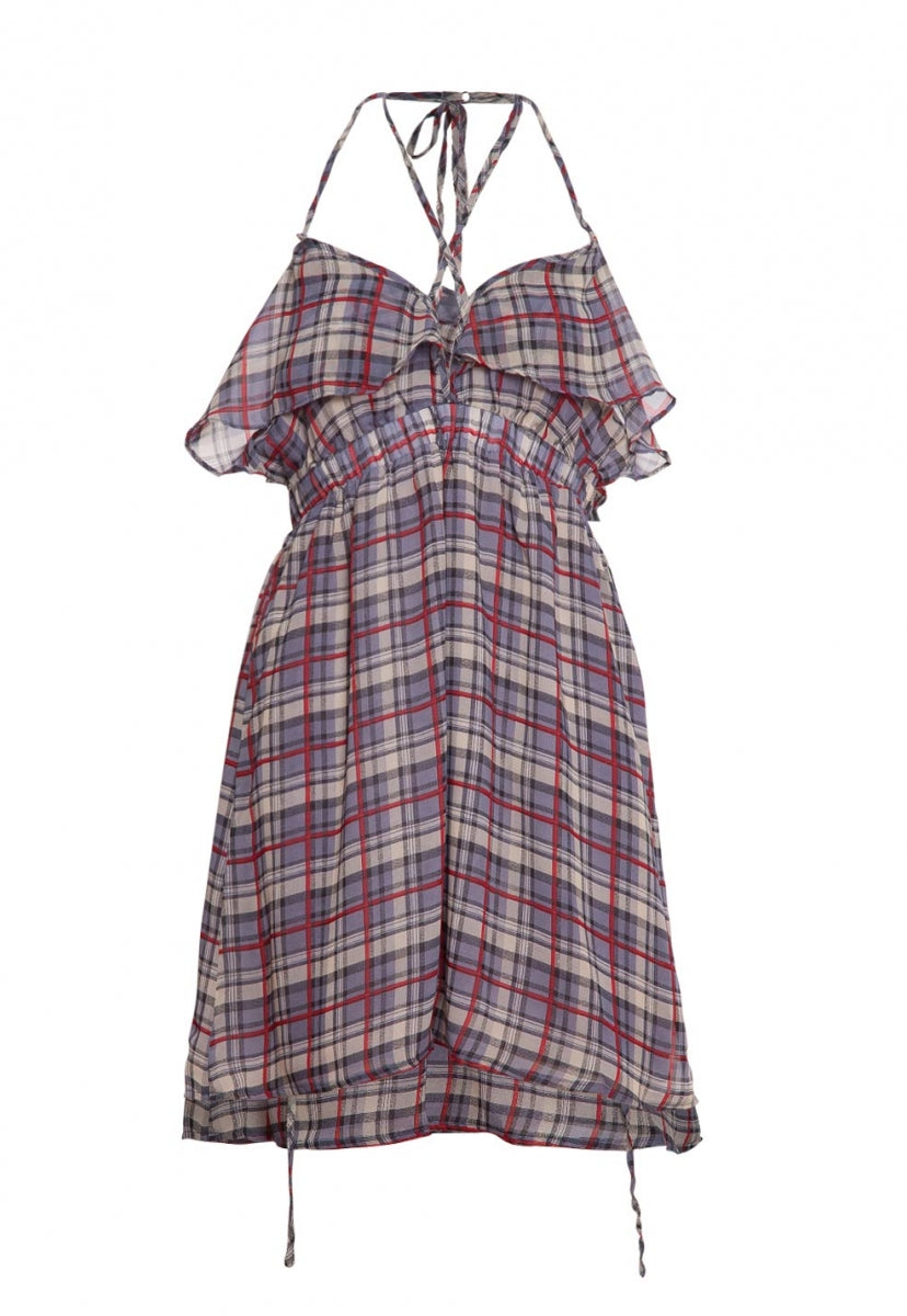 Pine Lane Plaid Fit and Flare Dress in Gray - Dresses - Wetseal