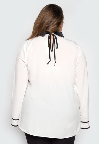 Plus Size Snowflake Embellished Collar Blouse
