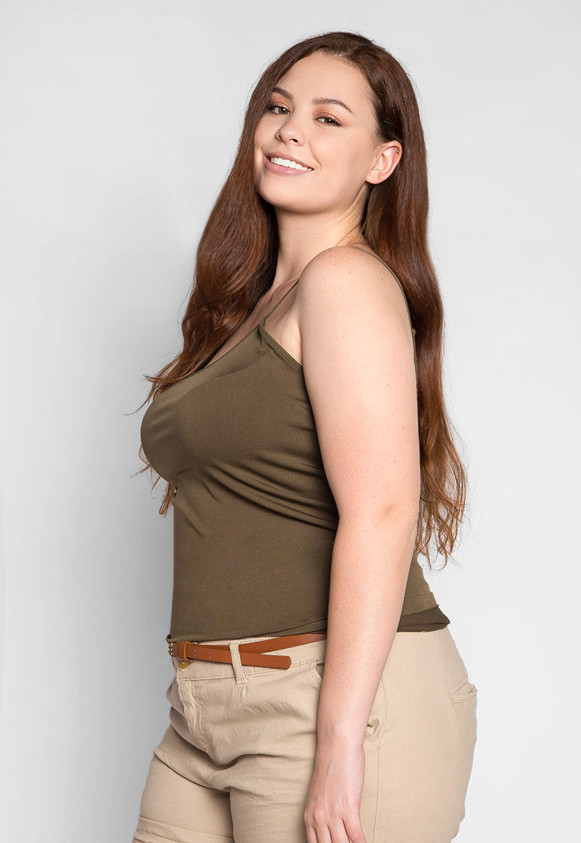Plus Size Benton Cami Tank in Olive - Plus Tops - Wetseal