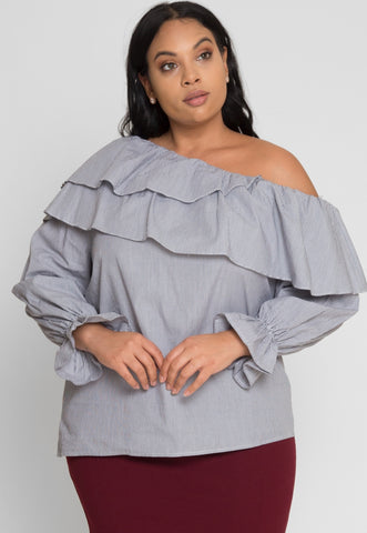 Plus Size Emotions One Shoulder Stripe Top