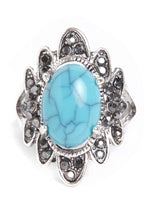 Queen Rhinestone Ring in Light Blue