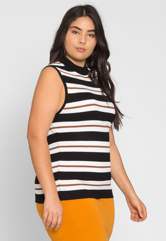 Plus Size Charger Knit Stripe Top in Caramel