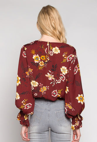 Maddie Smock Trims Floral Blouse in Burgundy