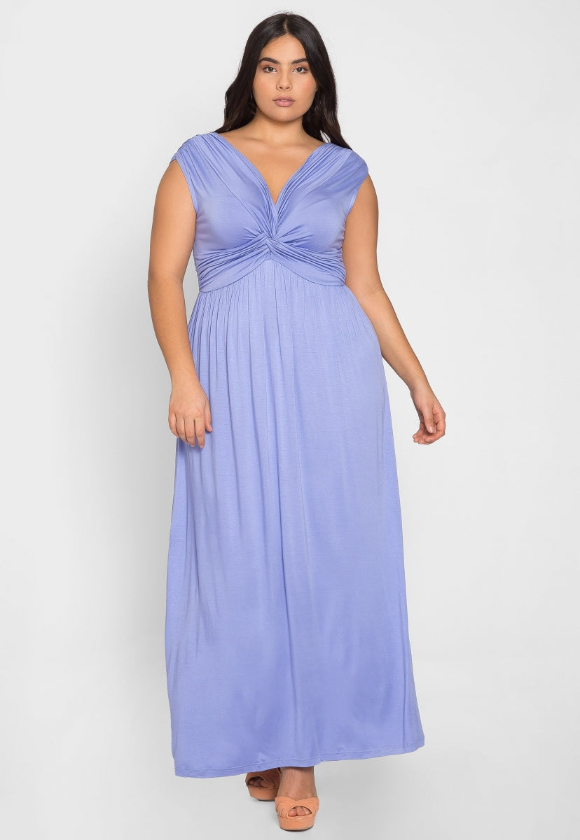 Plus Size Aroma Twist Front Maxi Dress in Lavender - Plus Dresses - Wetseal