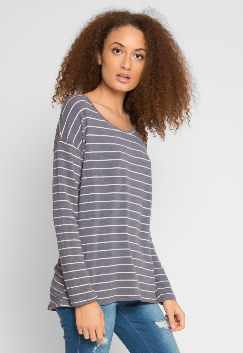 School Day Stripe Knit Top in Blue - Shirts & Blouses - Wetseal