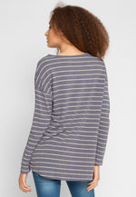 School Day Stripe Knit Top in Blue