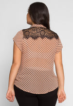 Plus Size Polka Dot Neck Tie Top