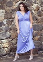 Plus Size Aroma Twist Front Maxi Dress in Lavender