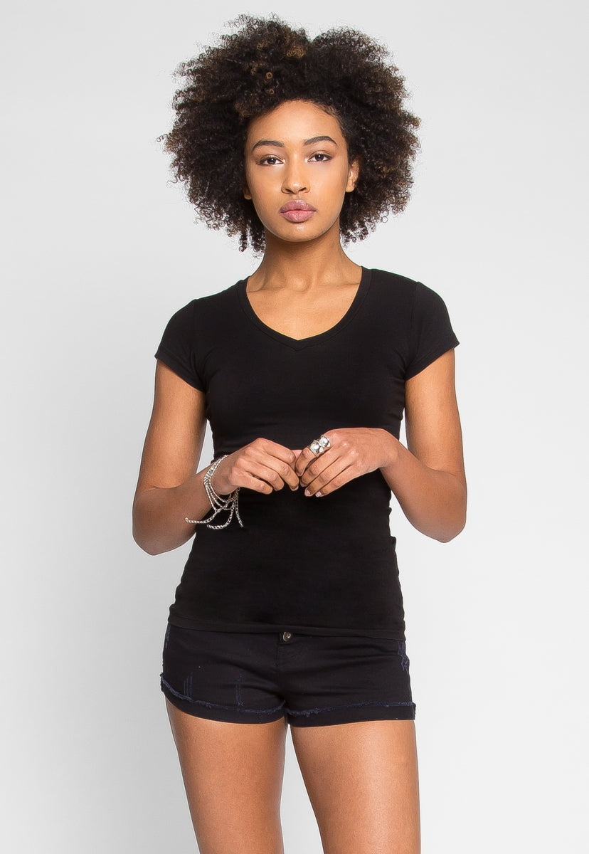 Venus V-Neck Tee in Black - T-shirts - Wetseal