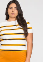 Plus Size Rib Knit Stripe Top in Yellow