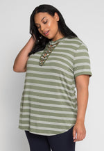 Plus Size Only Dream Lace Up Stripe Tee in Olive