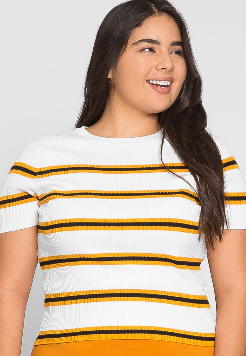 Plus Size Rib Knit Stripe Top in Yellow - Plus Tops - Wetseal