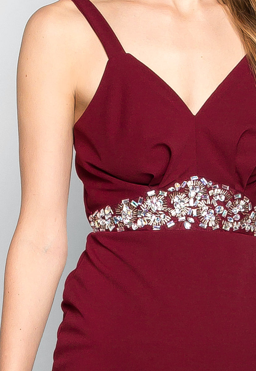 To the Moon Empire Waist Mini Dress in Burgundy - Dresses - Wetseal