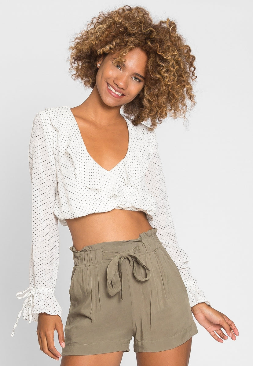 Romantic Polka Dot Crop Top in White - Shirts & Blouses - Wetseal