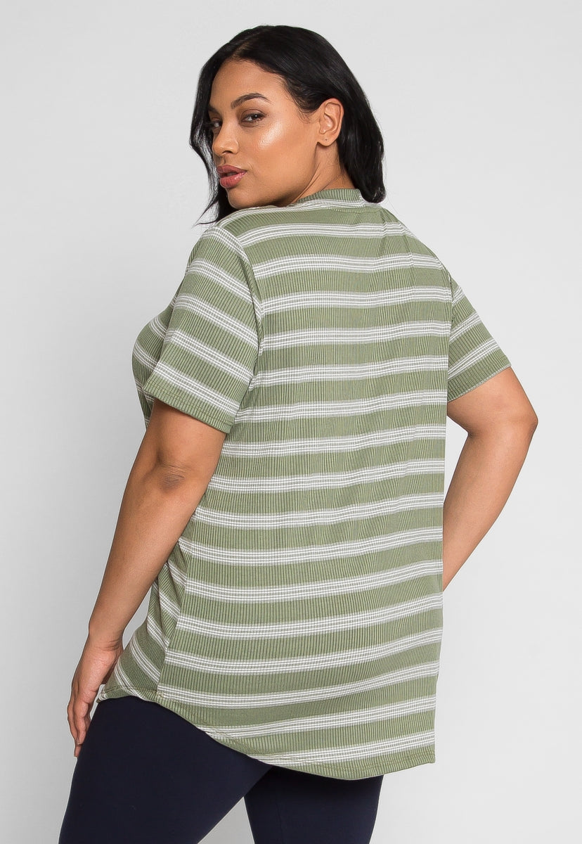 Plus Size Only Dream Lace Up Stripe Tee in Olive - Plus Tops - Wetseal