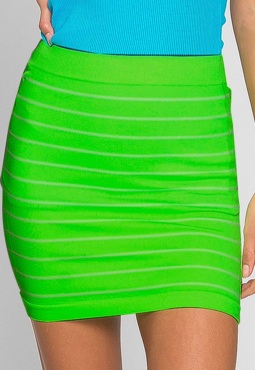 Luminous Stripe Knit Skirt in Neon Green - Skirts - Wetseal