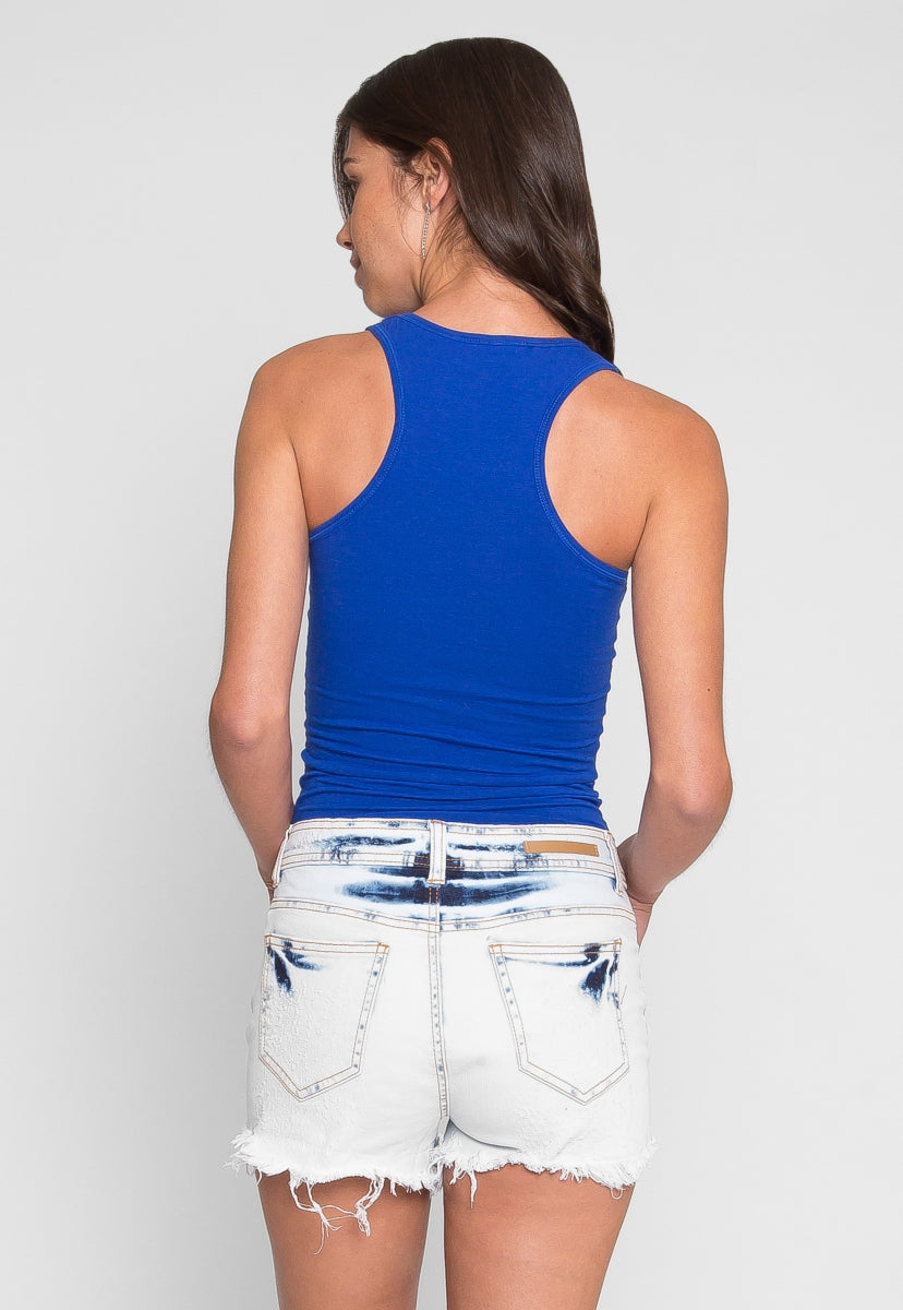 Morning Haze Basic Racerback Tank Top in Blue - Tanks - Wetseal