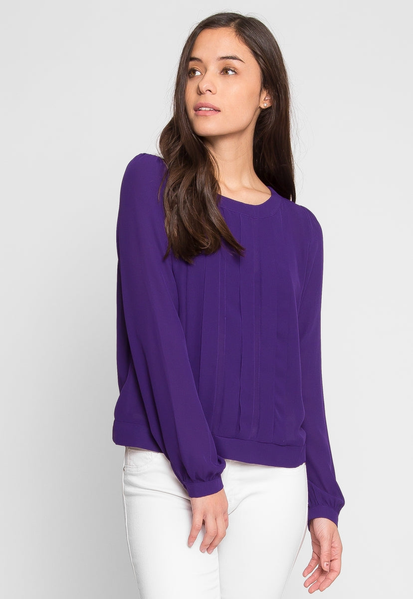 Vacation Pleated Chiffon Top in Purple - Shirts & Blouses - Wetseal