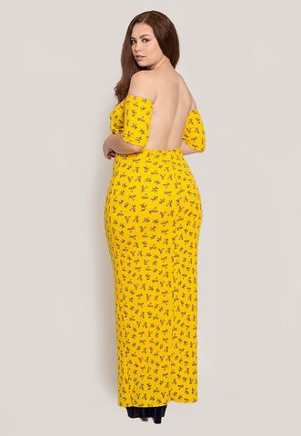 Plus Size Off Shoulder Maxi Dress in Yellow Floral