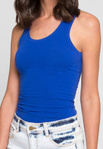 Morning Haze Basic Racerback Tank Top in Blue