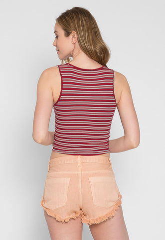 Racer Multi Stripe Knit Top in Burgundy