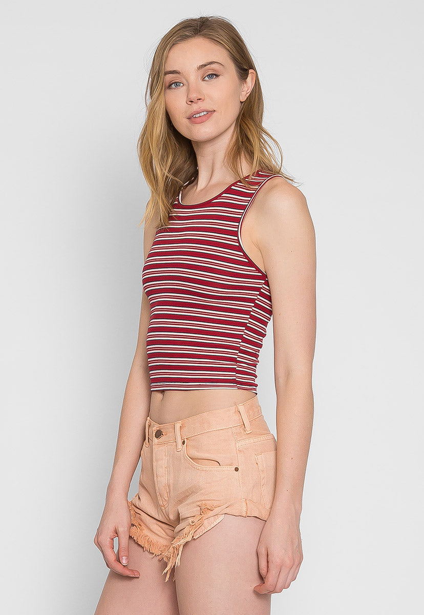 Racer Multi Stripe Knit Top in Burgundy - Crop Tops - Wetseal