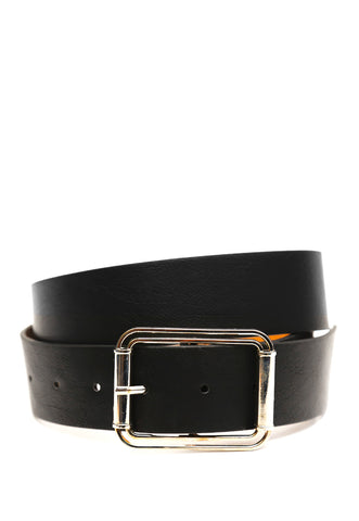 Faux leather rectangular buckle belt in black