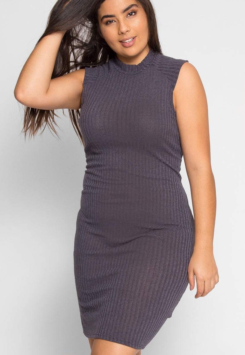 Plus Size Steal the Show Ribbed Dress in Charcoal - Plus Dresses - Wetseal