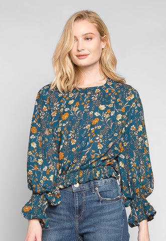 Maddie Smock Trims Floral Blouse in Teal